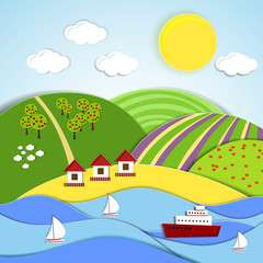 Vector landscape of sea  sun and green hills
