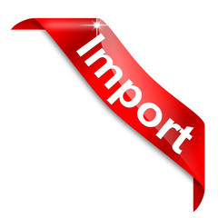 Red narrow corner with the word import - vector