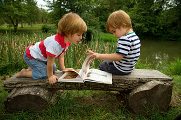 Little Twin Brothers Looking at Interesting Pictures in the Book