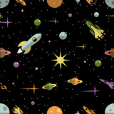 Seamless pattern with planets  rockets and stars - 67794259