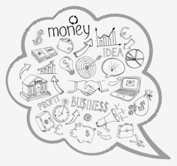 Speech bubble with business and money icons