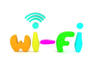 3d glossy and shinny wi fi symbol with w, i and f letters