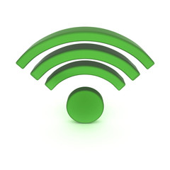 3d green wi fi symbol isolated on white