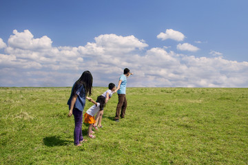 Playful family on meadow 1