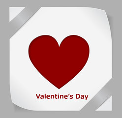 Valentines Day paper sticker with red heart