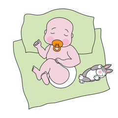 Sleeping baby with a toy rabbit