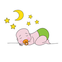 Sleeping baby with moon and stars