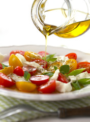 Olive oil dressing, caprese salad