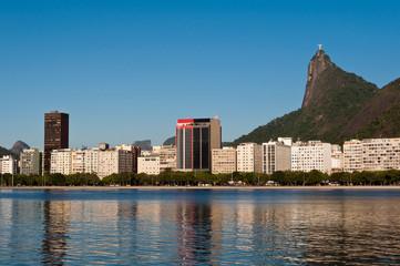 Rio de Janeiro Botafogo Skyline with Corcovado Mountain