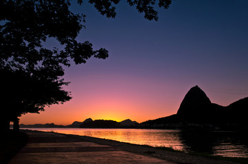 Silhouette of Sugarloaf Mountain during Beautiful Sunrise