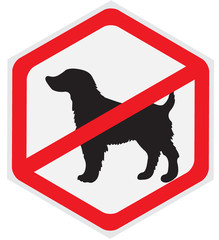 No dogs allowed sign, hexagon
