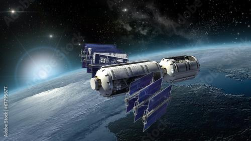 Satellite, spacelab or spacecraft surveying Earth - 67795677