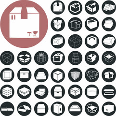Logistics and box pictogram icons set