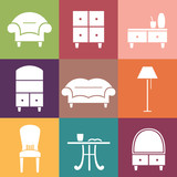 Fototapety Flat vector icons. Furniture set.