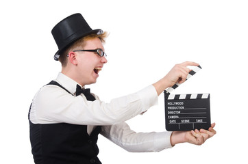 Funny man with movie clapper clapboard