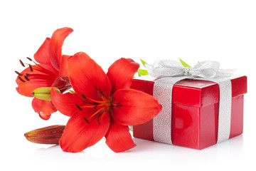 Red lily flower and gift box