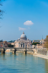 Saint Peter cathedral over Tiber river in Rome Italy