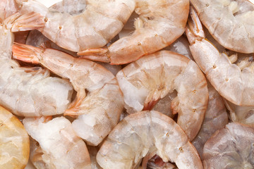 Raw uncooked shrimps