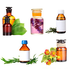 Collage of medicine bottles and herbs, isolated on white
