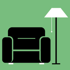 Flat vector. Furniture icon. chair with a floor lamp.