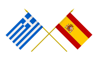 Flags, Greece and Spain