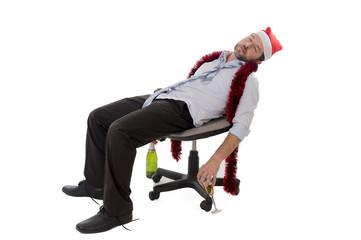 drunk businessman sleeping drunk at office xmas party