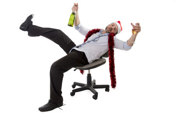 drunk businessman drinking champagne office xmas party