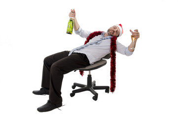 drunk businessman drinking champagne office christmas party
