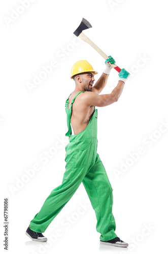 Worker with axe isolated on white