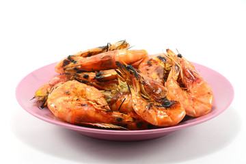 Grilled shrimp isolate on a white background