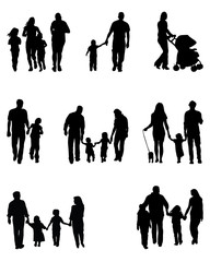 Black silhouettes of family walking, vector