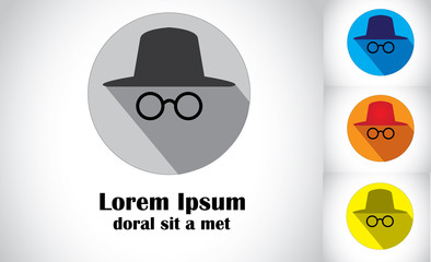 hat & goggles flat design abstract art detective spy agent set