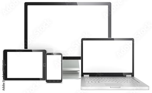 Responsive Web Design. Devices No branded. Copy space.