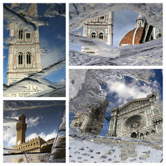 wonderful Florence artistic collage - puddle reflections