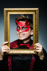Funny devil with picture frame