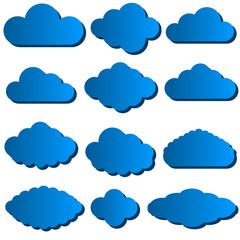 Vector illustration of cloud set