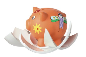 Piggybank and Broken Pieces