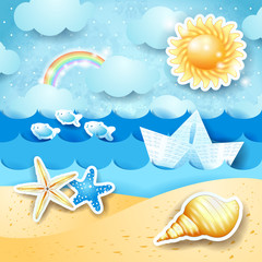 Seascape with sun, seashells and paper boat