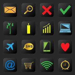 Web icons on the black background