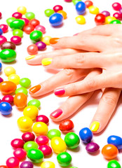 Bright nails and candies