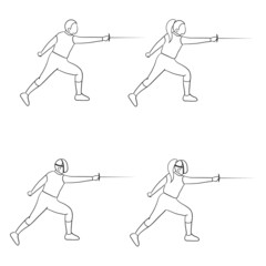 Fencing doodle man and woman
