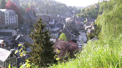 View of the small German town Monschau.