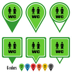 WC flat navigation pins