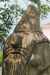 wooden statue in the park