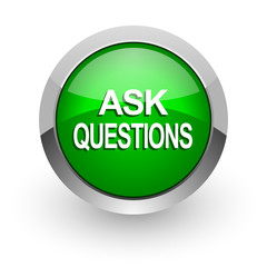 ask questions green glossy web icon