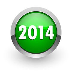 year 2014 green glossy web icon