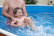 Boy with his father, having fun in the pool
