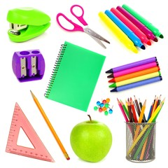 Variety of school supplies individually isolated on white
