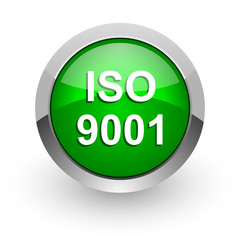 iso 9001 green glossy web icon