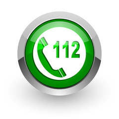 emergency call green glossy web icon